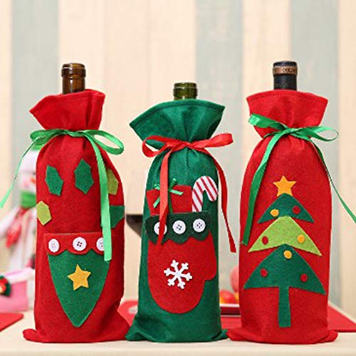 MoGist Wine Bottle Covers Christmas Wine Bottle Gift Bag Holder Santa Claus Christmas Table Dinner Decoration Home Party Decors (#A) by MoGist (Image #1)