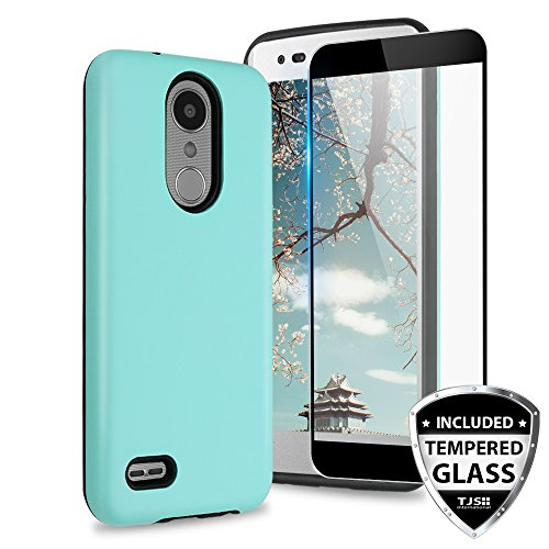 TJS Case for LG Aristo 2/Aristo 2 Plus/Aristo 3/Aristo 3 Plus/Tribute Dynasty/Tribute Empire/Fortune 2/Rebel 3 LTE [Full Coverage Tempered Glass Screen Protector] Hybrid Armor Phone Cover (Teal)