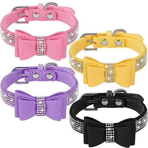 4 Pieces Bling Dog Collar with Bow Adjustable Puppy Rhinestone Crytal Collars for Pet Dogs Cats (Pink, Yellow, Purple, Black,Small)