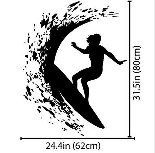 Zybnb Chica Surf En El Mar Olas Silueta Etiqueta De La Pared Surfer Mujer Surf Con Tabla De Surf Deporte Extremo Fresco Mural De Pared: Amazon.es: Bricolaje ...