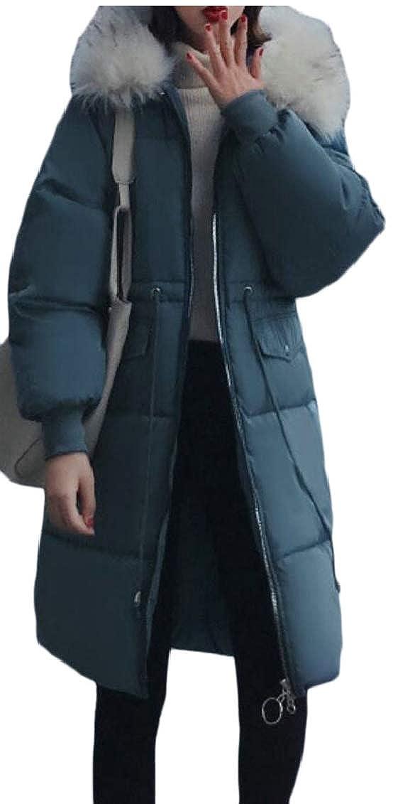 bluee Keaac Womens Warm Down Coat Faux Fur Hooded Parka Puffer Jackets Long Overcoat