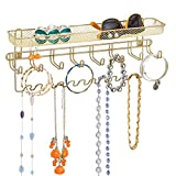 mDesign Decorative Metal Closet Wall Mount Jewelry Accessory Organizer for Storage of Necklaces, Bracelets, Rings, Earrings, Sunglasses, Wallets - 8 Large /11 Small Hooks, 1 Basket - Gold Brass