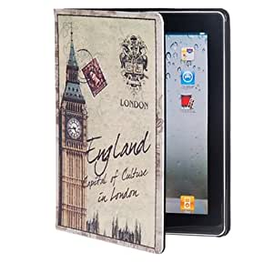 HAWKS Retro Stamp Bell Tower Pattern PU Leather Protective Case for The new iPad Best Seller