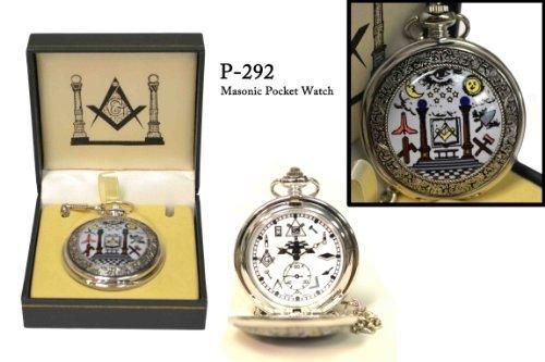 Masonic Working Tools Silver & Light Blue Pocket Watch - 2