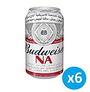 """Budweiser Classic Can """"Non Alcoholic Beer""""- 355 ml (Pack of 6)"""