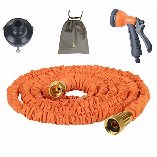 (Youfo) Yoofor extend hose 2016 enhanced version of 2.5m ¨ 7.5m extending to 3 times 8 pattern watering nozzle housed all four colors orange pouch by (Youfo) Yoofor