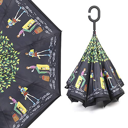 Reverse-folding-type umbrella Self-supporting umbrella Rain-and-fall combinedly C-type hand on hand 8 bones Water repellant Wind resistant Strong 210T Not wetable Car long umbrella Upside-down umbrell