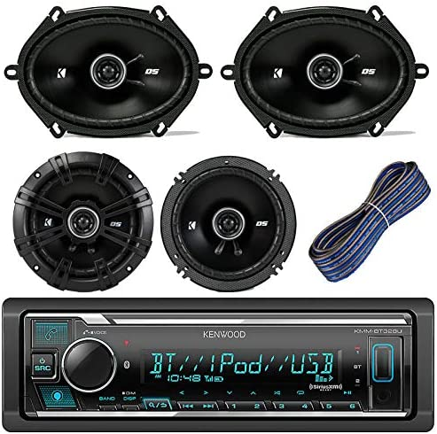 Bundle With 2x TSA1676R 6.5 3-Way Car Audio Speakers Amp Kit 4-Channel Amplifier 2x 6.5-6.75 4-Way Stereo Speaker Kenwood KDC118 Car Radio AUX CD Player Receiver