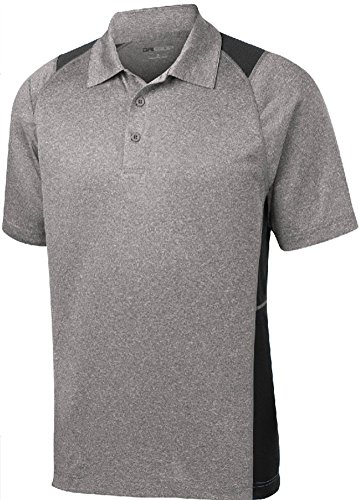 DRI-EQUIP Moisture Wicking 2-Color Athletic Polo, X-Large, Heather and Black
