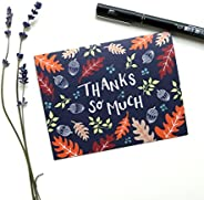 8 Hand Illustrated Thank You Cards - Autumn Forest