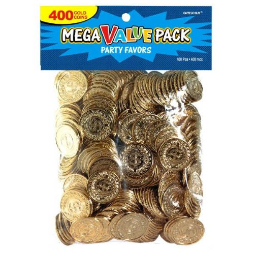 Novelty Amscan Plastic Gold Coins Value Pack - 400 Ct. - Gold Coins Party Favors