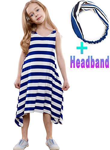 Navy Blue Striped Headband - Garlagy 2 Pcs Girls Summer Casual Dresses Sleeveless Striped Crew Neck Loose Party Dress with Headband for 3-12Y (1-Navy Blue, Height 50-53in(7-8Y))