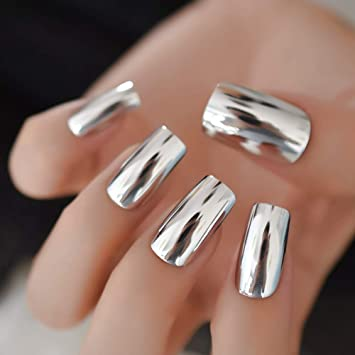 EchiQ uñas postizas largas metálicas plateadas brillantes ...