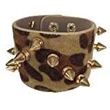 Biker Chick Spike on Faux Fur Animal Print Wide Snap Bracelet (Brown Leopard Print)