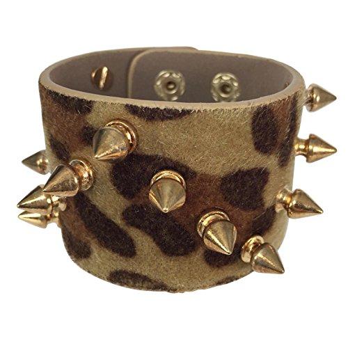 Biker Chick Spike on Faux Fur Animal Print Wide Snap Bracelet (Brown Leopard Print)