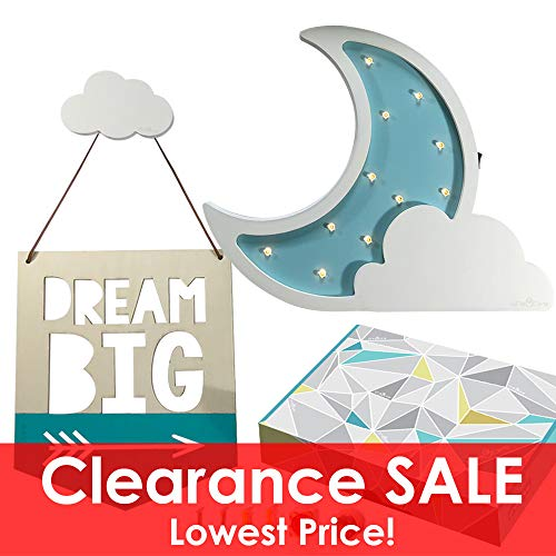 (Cre8tivePick LED night lamp for kids marquee wooden moon cloud light, baby nursery decor night light, DIY wall mounted cloud hook, quotes on wood sign for kids room décor, wall hooks, kids table lamp)