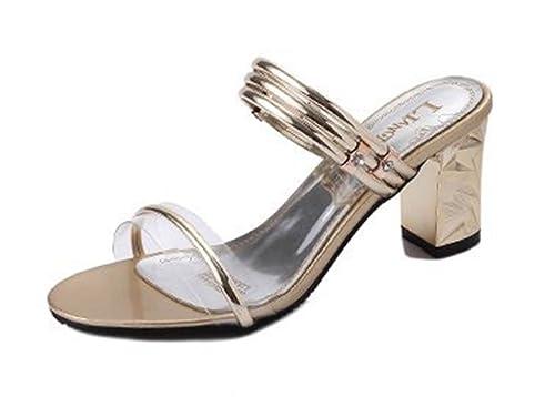 2da2f6fc37 Sandalias Elegantes y Atractivas Zapatos para Mujer Fiesta de Noche  Zapatillas de Verano de Tacón Grueso de la Boda  Amazon.es  Zapatos y  complementos