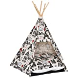 PawHut Foldable Teepee Puppy Dog Cat Bed Tents & Houses Pet Small Washable with Cushion