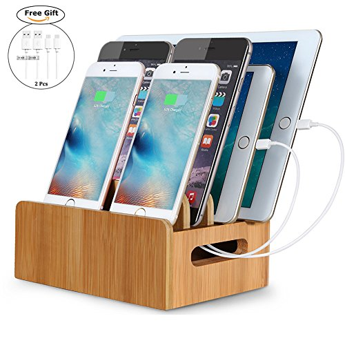 Top Dock Box - Real Bamboo Charging Station USB Charging Dock Storage Box Eco Friendly Desktop Stand Dock Holder For iPhone iPad Pro Smartphones,Cords Cable Organizer Compatible with Most 4/5/6 USB Charger.