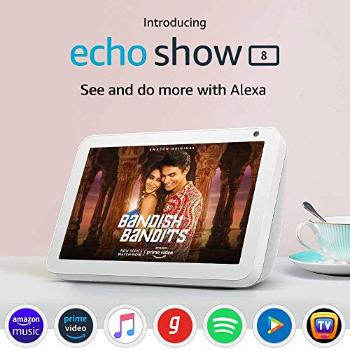Echo Show 8 (1st Gen, 2020 release) – Smart speaker with 8″ HD screen, stereo sound & hands-free entertainment with Alexa (White)