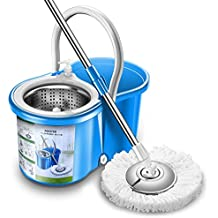 New Upgraded Stainless Steel Deluxe Microfiber 360 Spin Mop & Bucket Floor Cleaning System Included EasyPress Handle with 2 Microfiber Mop Heads