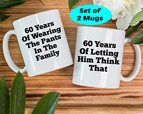 Funny Inspirational Mugs Cup 11oz -60th Wedding Gift, 60 Years Of Marriage Gift, 60 Years Wedding Gifts, 60th Anniversary Gift Ideas, 60th Diamond Anniversary Coffee Mugs