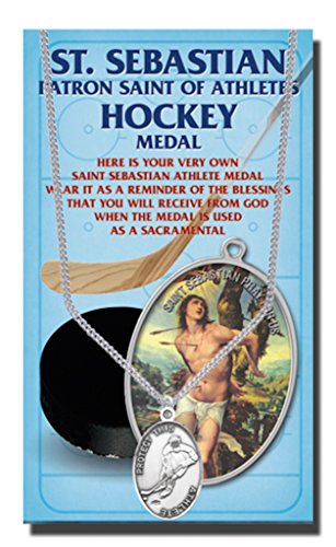 WJH Hockey Saint Sebastian Pewter Medal on 24 Continuous Chain, Double-Sided Medal