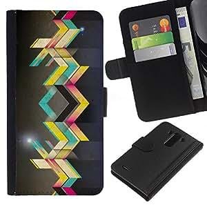 YiPhone /// Tirón de la caja Cartera de cuero con ranuras para tarjetas - Arte callejero - LG G3