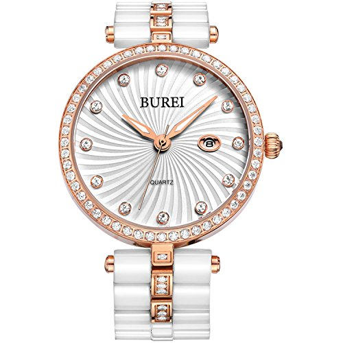 BUREI Women's Elegant Ceramic Quartz Watches with Date Rose Gold Diamond Bezel (Gold Bezel Watch)