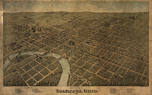 24 x 18 Reprinted Old Vintage Antique Map of: c.1872 Birds Eye View of Columbus, Ohio m1833 by Vintography