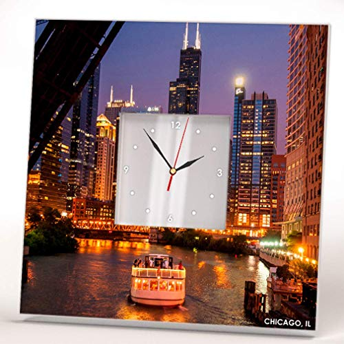 (Night Skyline Chicago River Downtown Skyscraper Wall Clock Framed Mirror Decor Art Home Design Gift)
