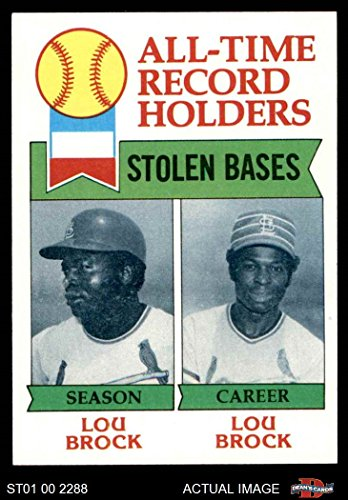 1979 Topps # 415 All-Time Record Holders - Stolen Bases Lou Brock St. Louis Cardinals (Baseball Card) Dean's Cards 8 - NM/MT Cardinals