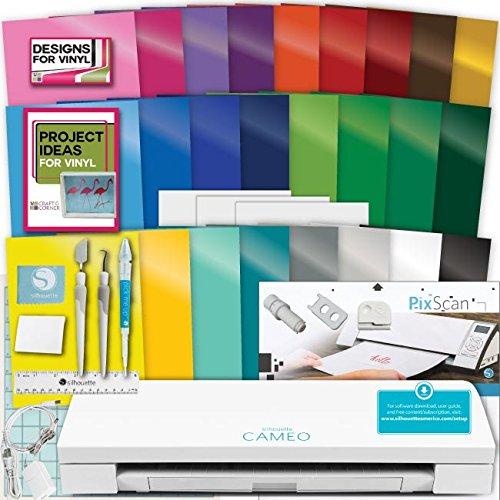 Silhouette Cameo 3 Machine Bundle Vinyl Starter Bundle- 25 Sheets Oracal 651 Permanent Vinyl with Transfer Paper, Tools, Vinyl designs, PixScan Mat