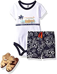 Hudson Baby Baby -Boys' 3 Piece Bodysuit, Short, Shoe Set
