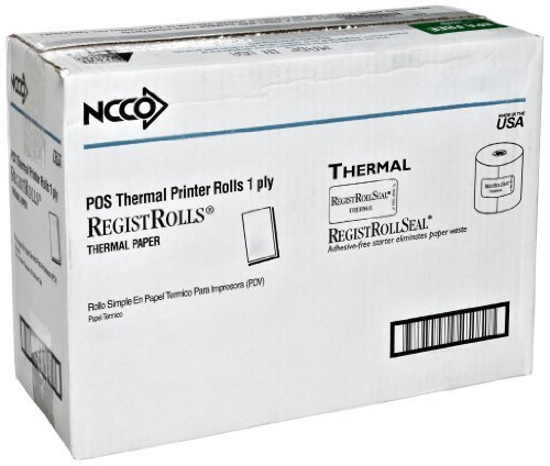 National Checking 7313SP 200' Length x 3.13 Inch Width 1 Ply White Thermal Registroll (3 Packs of 10 rolls) by National Checking