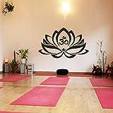 """WallsUp Wand-Tattoo Lotus-Blume mit Om-Zeichen, Yoga, Vinyl, Mandala-Kunst, Vinyl, schwarz, 35"""" h x57 w"""