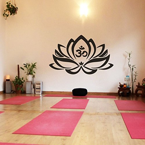 Floral Decor Lotus Flower With Om Sign Yoga Wall Vinyl Mandala Art Sticker(X-Large,Black) by WallsUp