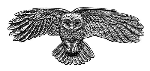 Owl Hair Clip - Medium Hand Crafted Metal Barrette Made in the USA with a 70mm Imported French Clip By Oberon Design