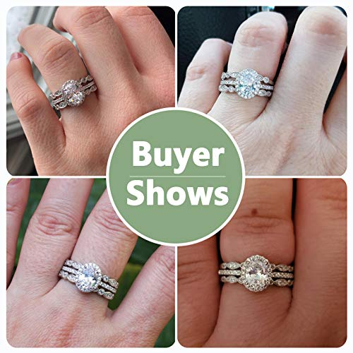 Newshe Jewellery Engagement Sets Wedding Rings for Women 925 Sterling Silver 3pcs White Cz Size 5-10 2