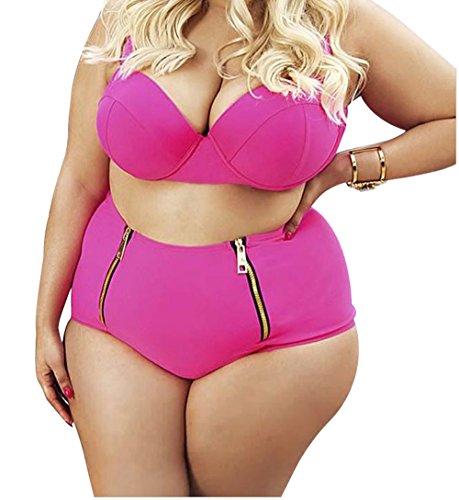 Christmas PEGGYNCO Womens Rosy Full-figured Women High Waist Bikini Size 3XL