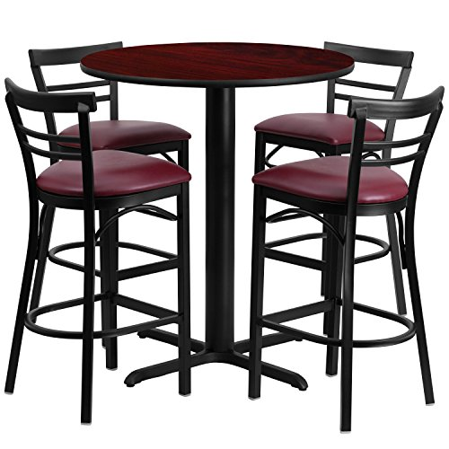 Flash Furniture 24'' Round Mahogany Laminate Table Set with