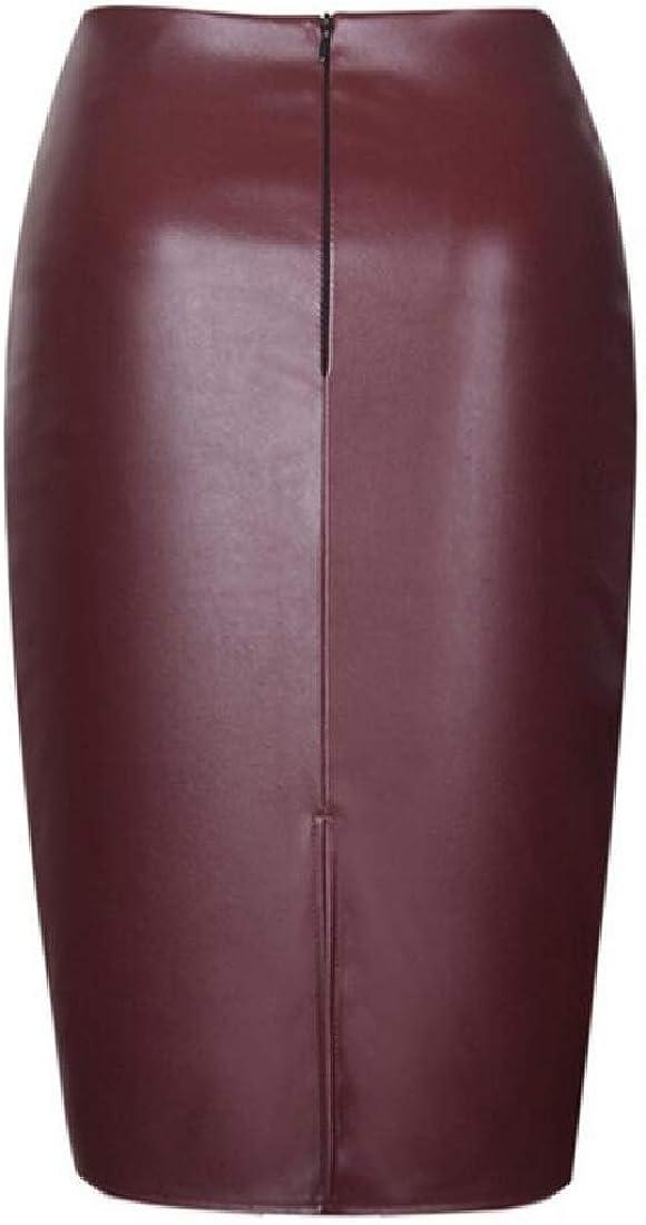 Etecredpow-CA Womens Work PU Leather High Rise Slim Fit Pencil Midi Skirt