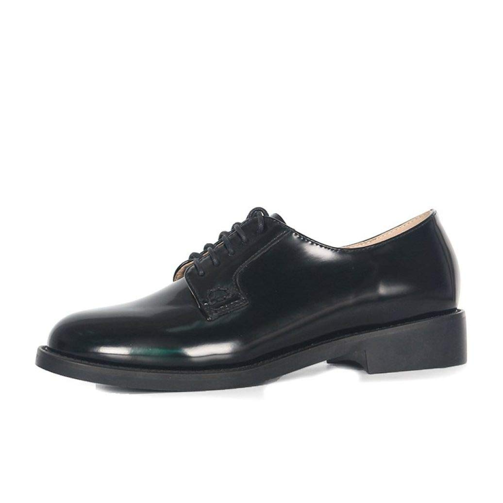 Black Fay Waters Women's Leather Oxfords Lace Up Low Heel Round Toe Plain Tone Dress shoes