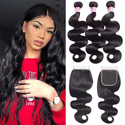 FQ Brazilian Body Wave Human Hair 3 Bundles with Closure Free Part (16 18 20+14) 10A Unprocessed Brazilian Virgin Human Hair Weave Bundles with Lace Closure Brazilian Body Wave 4 Bundle Deals