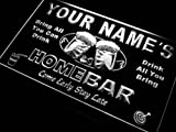 p-tm-w Name Personalized Custom Home Bar Beer Neon Light Sign White 24'' x 16''