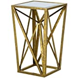 Madison Park Zee Gold Angular Mirror Top Drum Table - Gold - See below