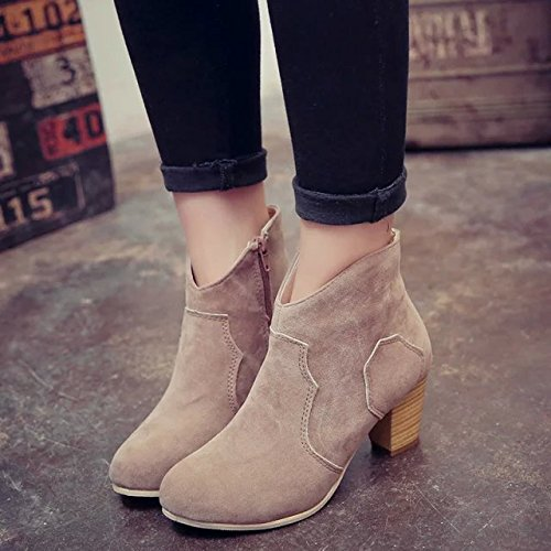HOESCZS Chaussures Femmes des Automne d'hiver De Mode Rétro Mat Épais des Femmes Bottines Chaussures des Femmes des Bottes Nues Bottes Martin Femmes 36|Beige 82daf7