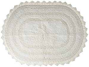 """DII Ultra Soft Spa Cotton Crotchet Oval Bath Mat Place in Front of Shower, Vanity, Bath Tub, Sink, and Toilet, 17 x 24"""" - White"""