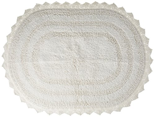 DII Ultra Soft Spa Cotton Crochet Oval Bath Mat or Rug Place in Front of Shower Vanity Bath Tub Sink and Toilet 21 x 34quot  White