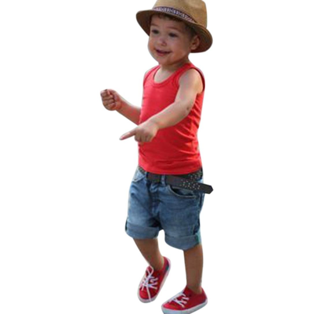 Baby Boys Outfit , Clode® [New Released] Toddler Kids Baby Boys Vest T-Shirt Tops and Denim Shorts Pants 2pcs Outfit Summer Clothes for 1-6 Years old Boys Clode-Boys Clothing -T02